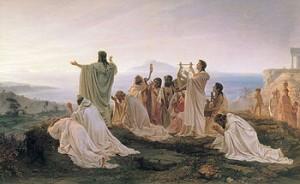 Discepoli di Pitagora che celebrano il sorgere del Sole in quadro dell'800 di F. Brònnikov.
