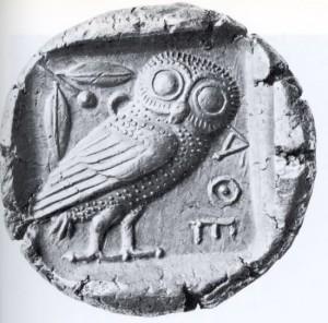 La  civetta di Atena su una tetradramma ateniese del V sec. a.C.
