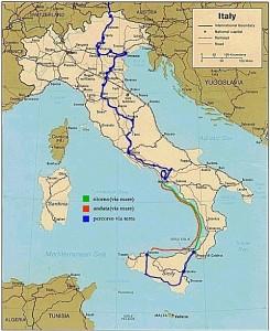 Il percorso di Goethe nel suo viaggio in Italia.