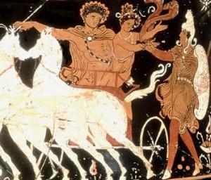 Laio rapisce Crisippo. Ceramica apula del IV sec. a. C.