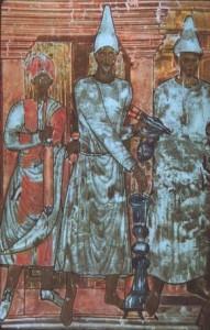 Dura-Europos: il re Arsacide Conone celebra un sacrificio bruciando incenso.