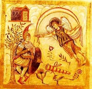 """Virgilio Romano: Eneide, libro IV: """"Mercurio, per incarico di Giove, ricorda a Enea la sua missione""""."""