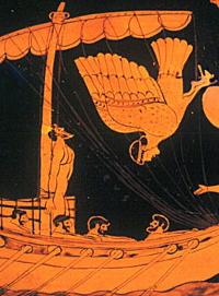 Una delle Sirene, non essendo riuscita ad ammaliare Ulisse, si getta da una rupe.