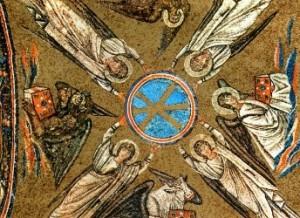 I simboli degli evangelisti in un mosaico ravennate del V-VI secolo.