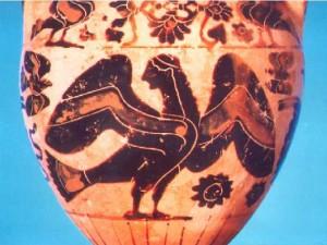 Sirena raffigurata su un'anfora greca della seconda metà del VI sec. a.C.