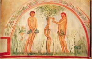 Adamo ed Eva con il serpente: si noti come la rappresentazione di quest'ultimo sull'albero sia identica a quella di Ladone sull'albero dei frutti dorati.