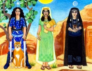 Le tre dee Al-'Uzza, Al-Lat e Al.Manat in un dipinto moderno.