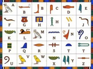 Tavola con i segni geroglifici di carattere alfabetico.