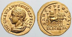 """Aureo coniato dalla zecca di Antiochia sotto l'imperatore Elagabalo. Sul verso appare l'immagine del """"Deus Sol Invictus""""."""