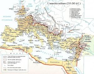 """L'Impero Romano nel III secolo, al tempo della """"grande anarchia militare"""""""