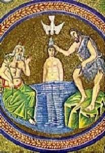 Mosaico del v secolo nel battistero degli Ariani a Ravenna con il battesimo di Cristo.