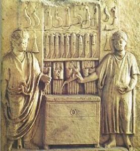 Rilievo del II secolo riproducente un ambulatorio medico romano.