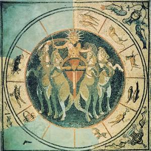 Mosaico pavimentale romano del III sec. proveniente da Munster in Germania. Il disco solare è l'immagine sensibile del principio primo dell'Universo.