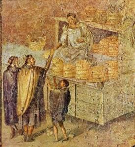 """""""Taberna"""" in cui si vende pane in affresco romano di Ostia."""