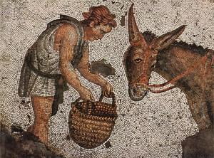 Mosaico romano che raffigura un contadino che offre il cibo a un asinello.