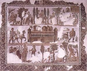 Mosaico deli inizi del IV secolo conservato al Museo del Bardo a Tunisi che mostra una villa romana dell'Africa settentrionale.