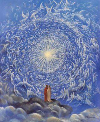 """I """"cori angelici"""" in un'illustrazione tratta da un disegno di G. Dorè per la """"Divina Commedia""""."""