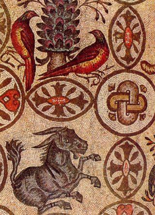 Mosaico del IV secolo nel pavimento della basilica di Aquileia.