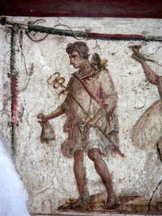 Hermes psicopompo in un affresco romano.